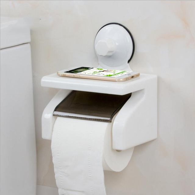 Portable White Plastic Kitchen Toilet Strong Suction Cup Paper Holders Waterproof Wall Holder Box Bathroom Products