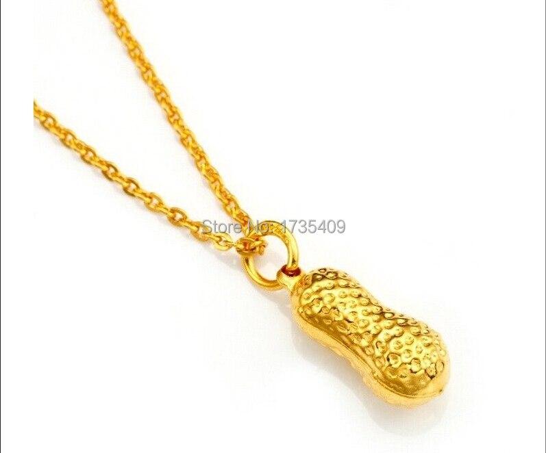 Soild 999 24K Yellow Gold Necklace/Lucky Peanut Pendant & Chain 3.8gSoild 999 24K Yellow Gold Necklace/Lucky Peanut Pendant & Chain 3.8g