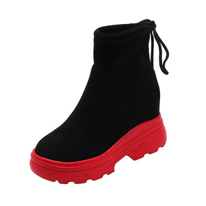 Image 4 - SWYIVY أسود أحذية رياضية النساء حذاء خفيف الظهر الدانتيل 2019 الخريف الإناث الكاحل عالية أعلى أحذية رياضية على منصة مكتنزة حذاء رياضة النساء