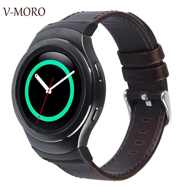 V-moro Newest Fashion Durable Watch Bands For Samsung Gear S2 R720 Strap Genuine Leather Band For Gear S2 With Metal Adapters смарт часы samsung gear s2 black