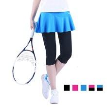 Женская Осенняя теннисная юбка, укороченные штаны, шорты для бадминтона, спортивные юбки для девочек с безопасными штанами