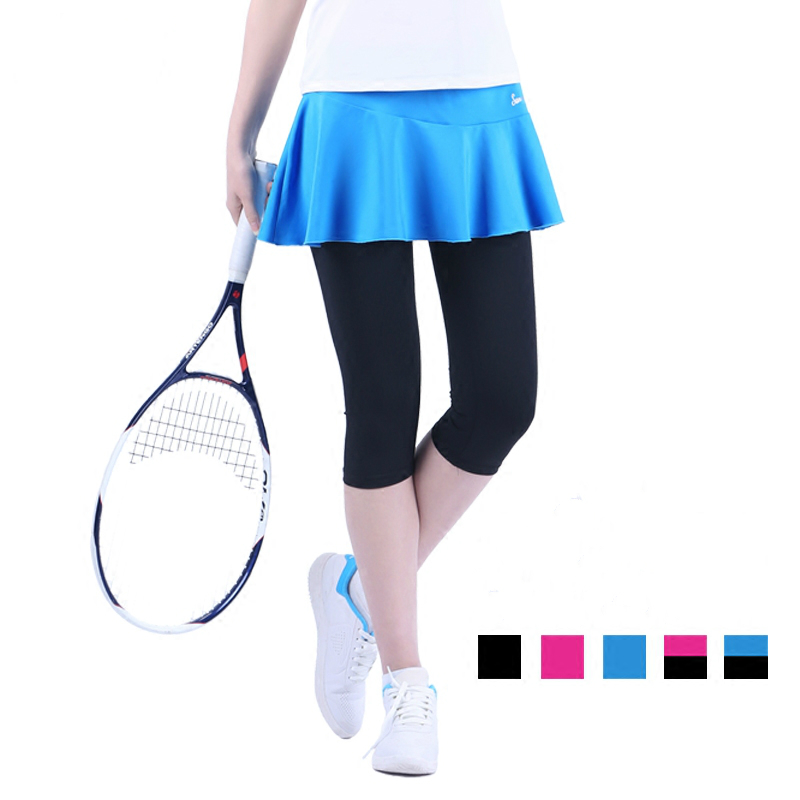 Women's Autumn Tennis Skirt Calf Length Pants Badminton Skort Sports Skirts for Girls with Safety Pants