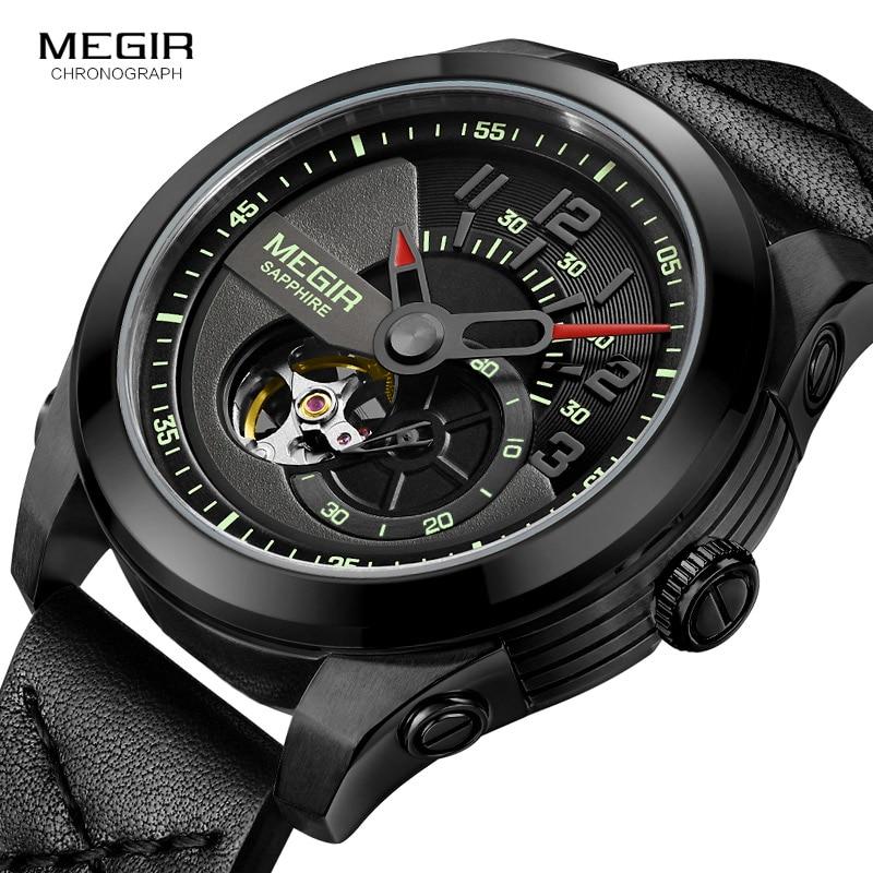 цена на Men's Leather Strap Army Sports Wrist Watches Clock Waterproof Hand Wind Mechanical Watch Man Reloliogs Masculino 62050G-BK-1