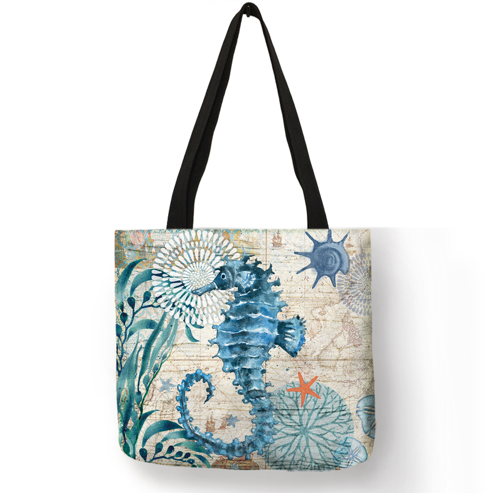 Customize Tote Bag Seahorse Turtle Octopus Pattern Traveling Shoulder Bags Eco Linen Shopping Bags For Women with Print 5