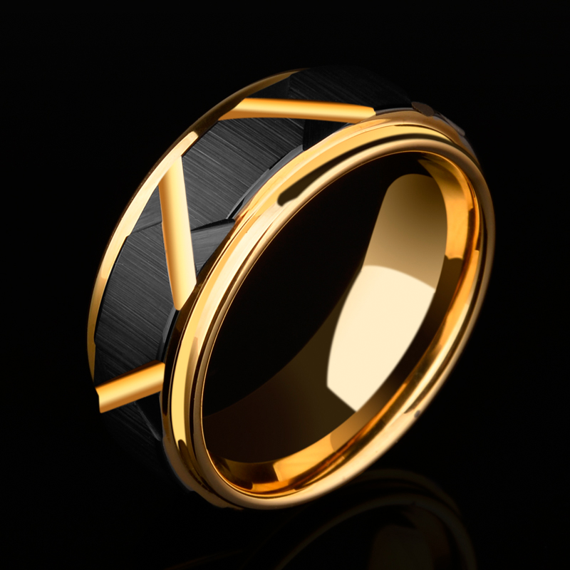 2018 New Arrival 8mm Width Tungsten Carbide Wedding Ring Black Faceted Design Mens Band Gold Plating Inside Comfort Fit 5 11.5