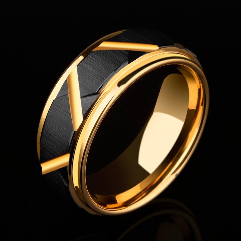 2018 nouveauté 8mm largeur carbure de tungstène bague de mariage noir à facettes conception hommes bande plaqué or à l'intérieur confort Fit 5-11.5
