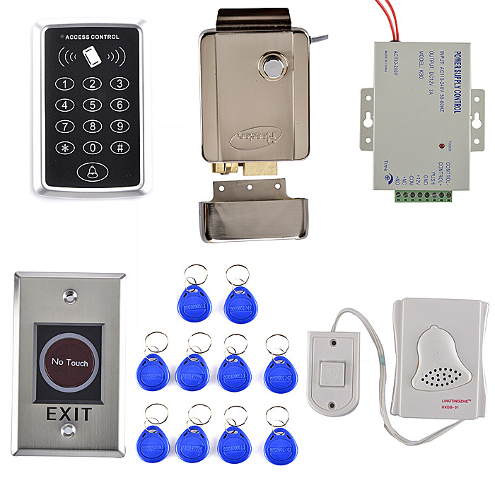 Stronger Electric Door Lock  + 125KHZ RFID KeyPad Card Access Control System Kit +Door Bell+Door Switch  Good for Door Use electric strike door lock 125khz em card keypad access control security system kit