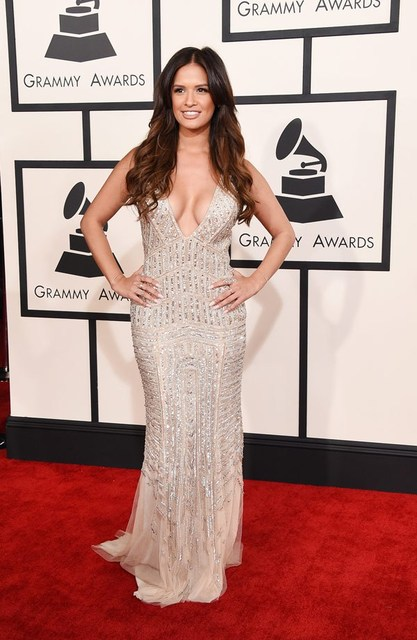2015 Grammy Rewards Red Carpet Dress Silver Sequins Beads Mermaid Rocsi Diaz Celebrity Dresses V-neck Sleeveless Gowns