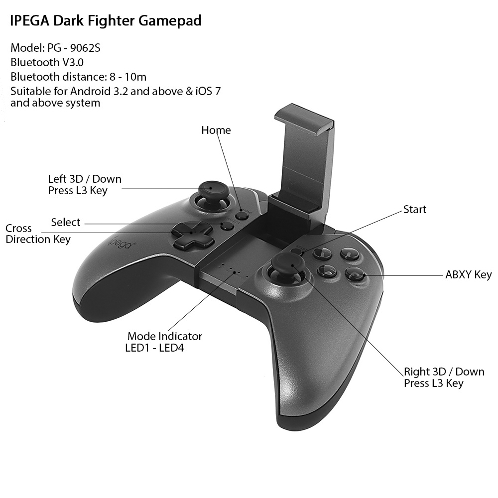 IPEGA PG-9062S Dark Fighter Bluetooth V3.0 Wireless Gamepad Controller Pro Gaming Joystick for Android iOS Phone TV PC Tablet kz zsn pro quad core moving double circle headphones