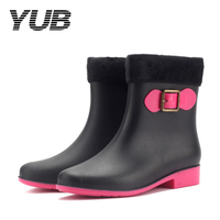 YUB Brand Ankle Short Rain Boots For Women With Sock Warm Elastic Adjust Winter Boots Shoes