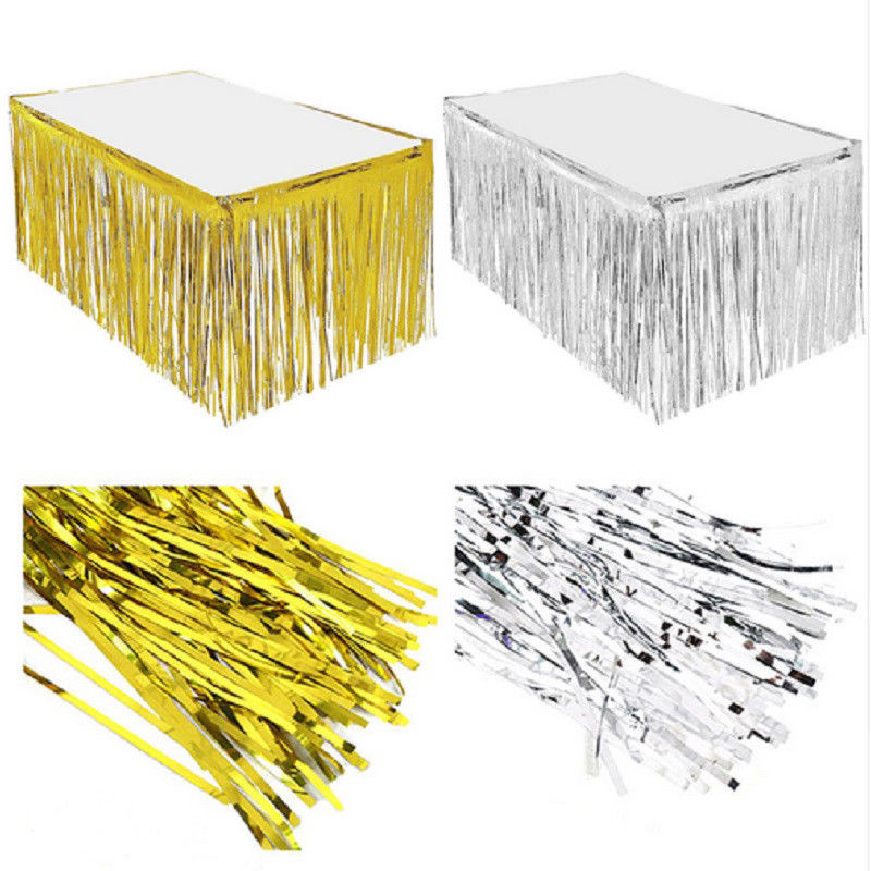 Foil Fringe Metallic Sequin TABLE SKIRT Hotel Wedding Party Banquet Graduate Wedding Celebrate Decor Accessories