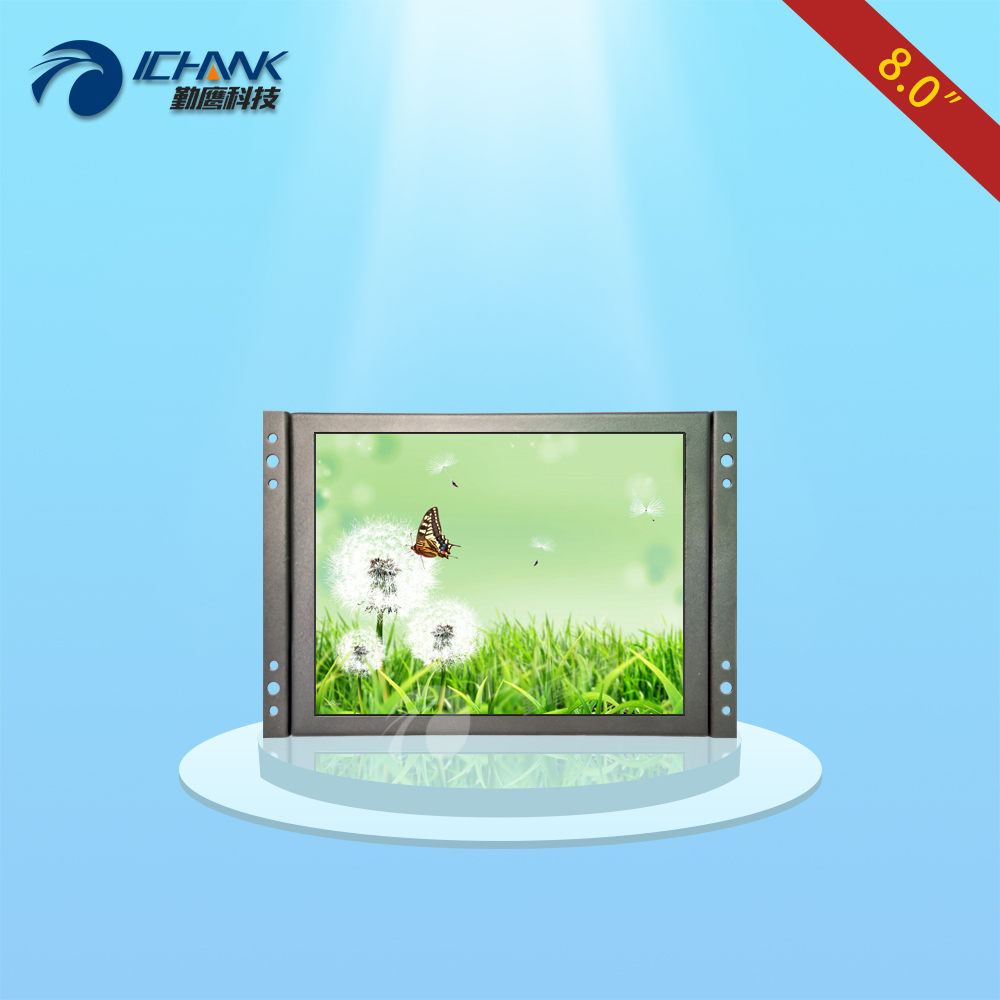 ZK080TN-2660/8 inch 1024x768 metal case VGA HDMI signal Open Embedded frame Wall-hanging industrial monitor LCD screen display white 8 inch open frame industrial monitor metal monitor with vga av bnc hdmi monitor