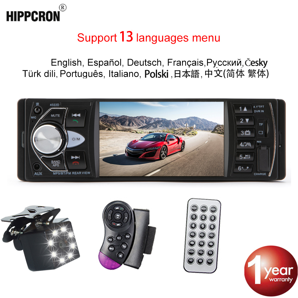 Hippcron Camera Screen-Support Autoradio Steering-Wheel Car-Stereo Bluetooth 4022D Rear-View title=