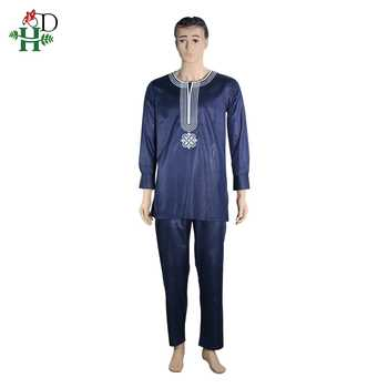 H&D African Suit For Men Robe Shirt Pants Set Long Sleeve Tops Embroidery Agbada Clothes Boubou Africain Homme Traditional Robes