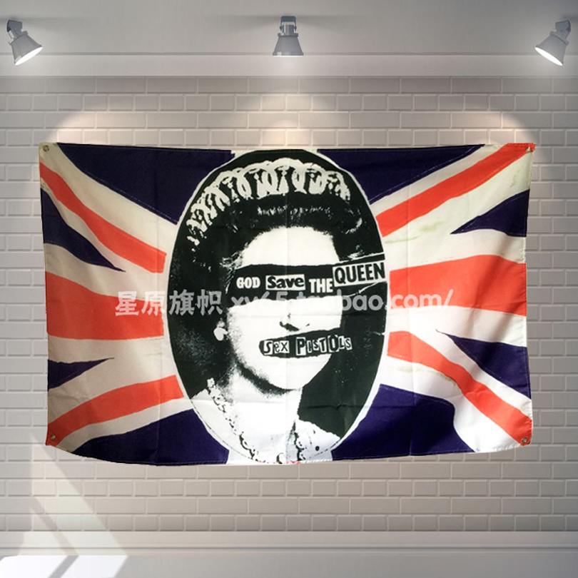 GOD SAVE THE QUEEN Heavy Metal Music Poster Scrolls Bar Cafes Home Decoration Banners Hanging Art Waterproof Cloth Decoration