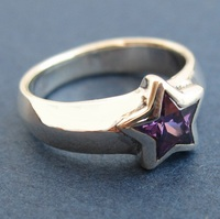 women's ring 925 pure silver personality five pointed star ring