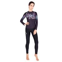 Diving Sail women Rash guard shirt and shorts UPF50 Woman Surf Board Swimsuit rashguard long sleeve swimwear VY010