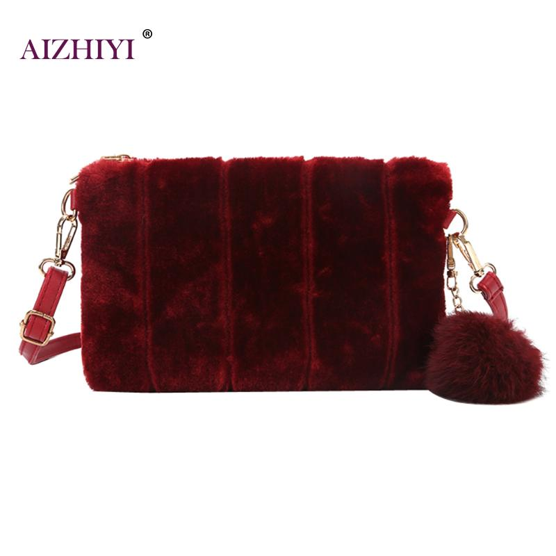 Vintage Fashion Fur Plush Cony Hair Clutch Envelope Women Handbag Plush Day Clutches Women Messenger Shoulder Bags Female Bolsas