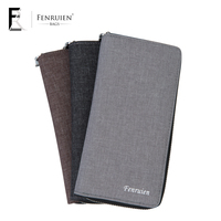 FRN Wallets Men Leisure Canvas Long Wallet Unisex Zipper Solid Color Day Clutch Male High Capacity