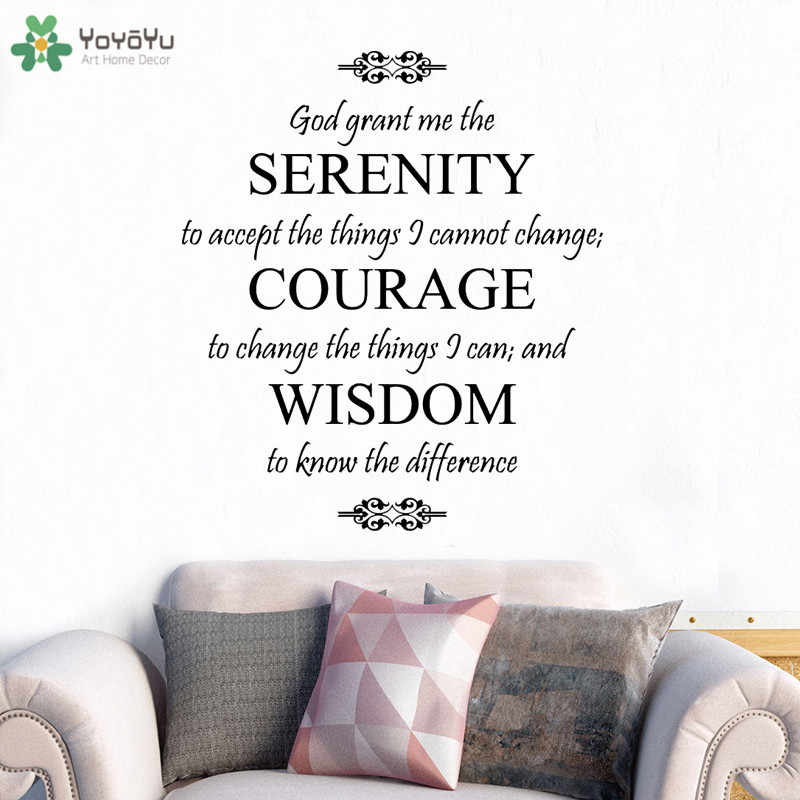 YOYOYU Wall Decal God Saying Serenity Prayer Vinyl Wall Stickers Spiritual  Quote Removable Interior Home Decor Gift Mural CT707