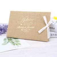 24*16センチファッション欧米の人格結婚式のゲストブック麻布文字刺繍レースちょう結びユニークなゲストブック8 LXY9