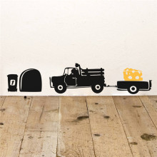 Divertente buco del mouse di trasporto formaggio camion black vinyl wall art decalcomanie living room home decor adesivi fai da te(China)