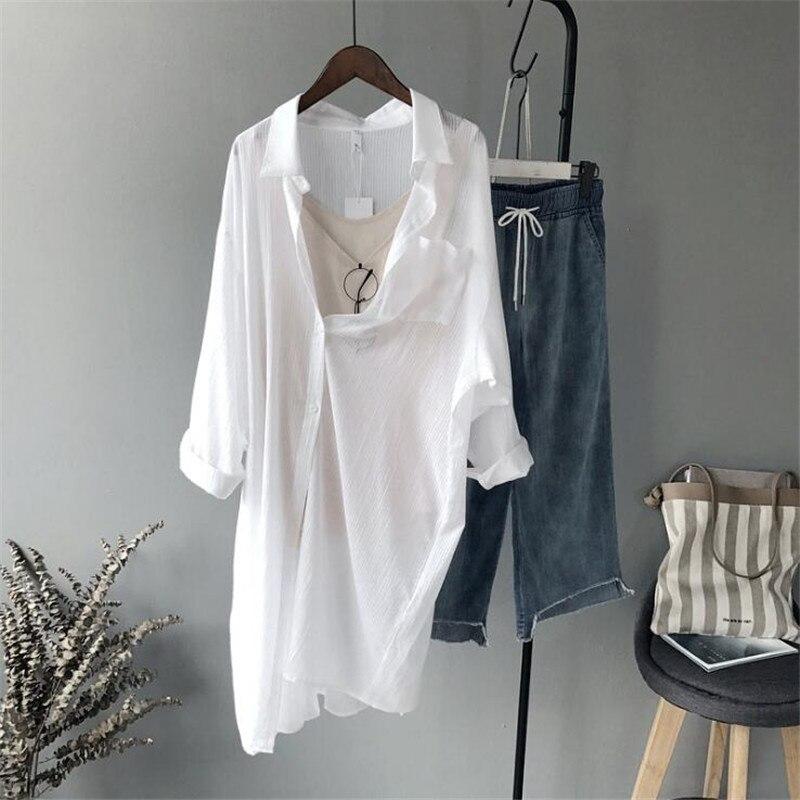 Coton décontracté blanc Long Blouse femmes 2019 d'été femmes à manches longues blanc chemises Blouse de haute qualité lâche Blouse hauts - 2
