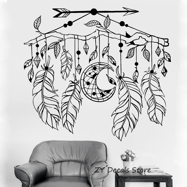 dreamcatcher wall sticker home decor living room arrow feathers wall