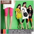 Free shipping Ms color thin section 7 minutes of pants The new big yards candy color ice silk tights