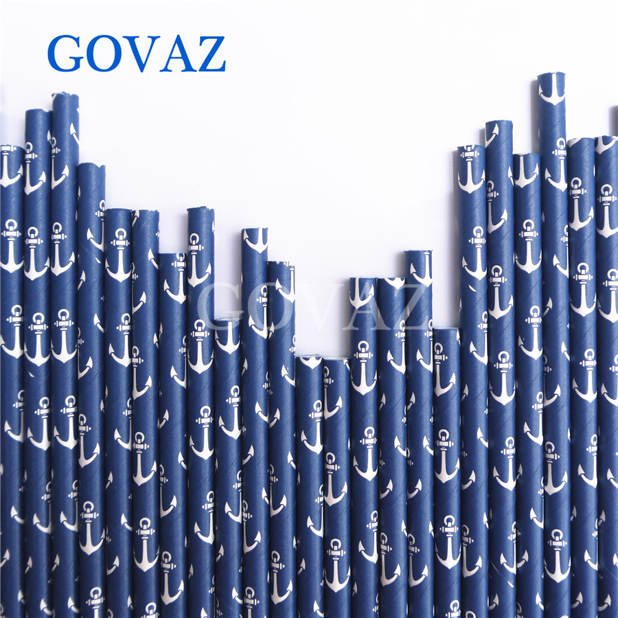 Navy Anchor Sailor Paper Straws Baby Shower Kids Boy Birthday Party 25pc Decoration Supplies Disposable Paper Drinking Straws