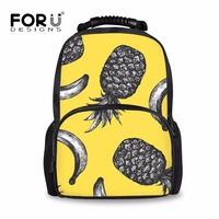 FORUDESIGNS Girls Orthopedic Backpack Pineapple Banana Print Yellow Primary High Quality Pack School Backpack Kids Satchel 2018