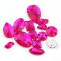 Розово-красный 36 штук смешанные стильные прозрачные цветные стеклянные кристаллы серебряные с плоским основанием пришивные стразы бусины ...