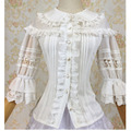 White Chiffon & Lace Three Quarter Sleeve Sweet Lolita Blouse Victorian Gothic Shirt Steampunk Corset Sexy Costume Accessories