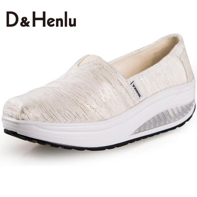 {D&H}Wedges Light Weight Swing Women's Casual Shoes Platform Canvas Shoes Women's Vulcanize Shoes Lose Weight Fitness Shoes