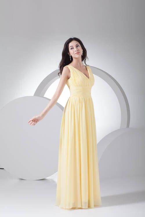 2018 индивидуальный заказ без рукавов с v образным вырезом Bodycon нарядные платья для свадьбы пол Длина пикантные шифоновое платье Желтый плать