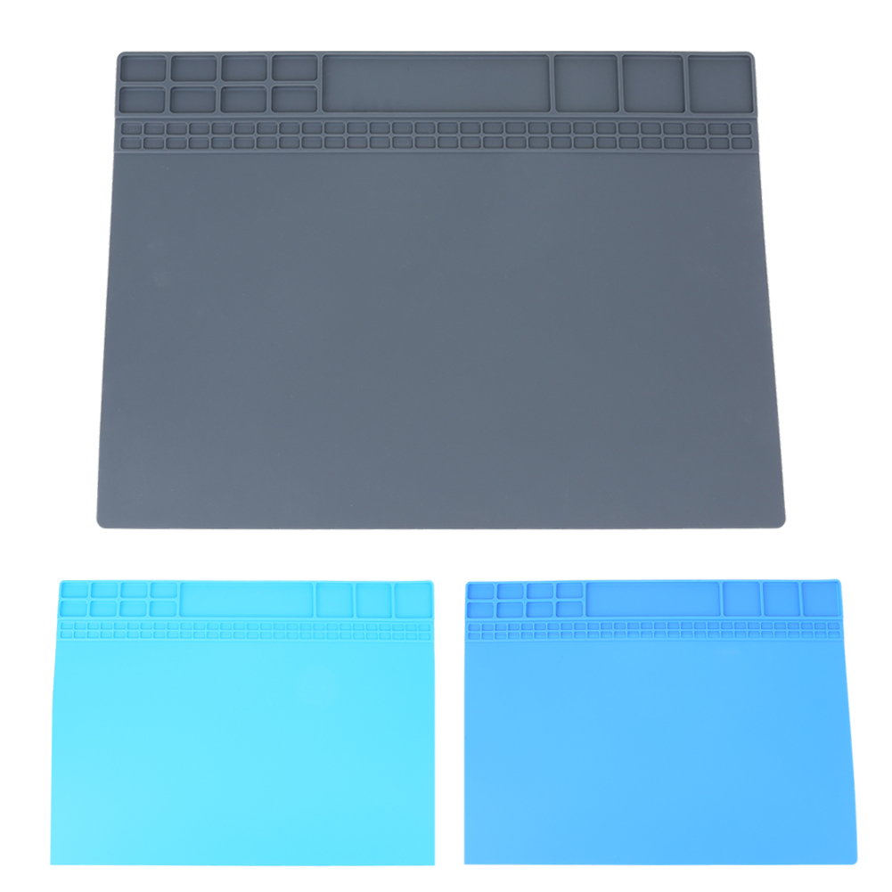 405x305mm Big Heat-resistant Silicone Pad Desk Mat Maintenance Platform Heat Insulation Soldering Repair Station+ Screw Location