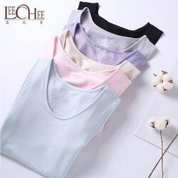2018 الخريف والشتاء الحرير ملابس اخلية حرارية سترة زائد المخملية سماكة الإناث الأساسية قميص أعلى العناية بالجمال الجسم Leechee Y029
