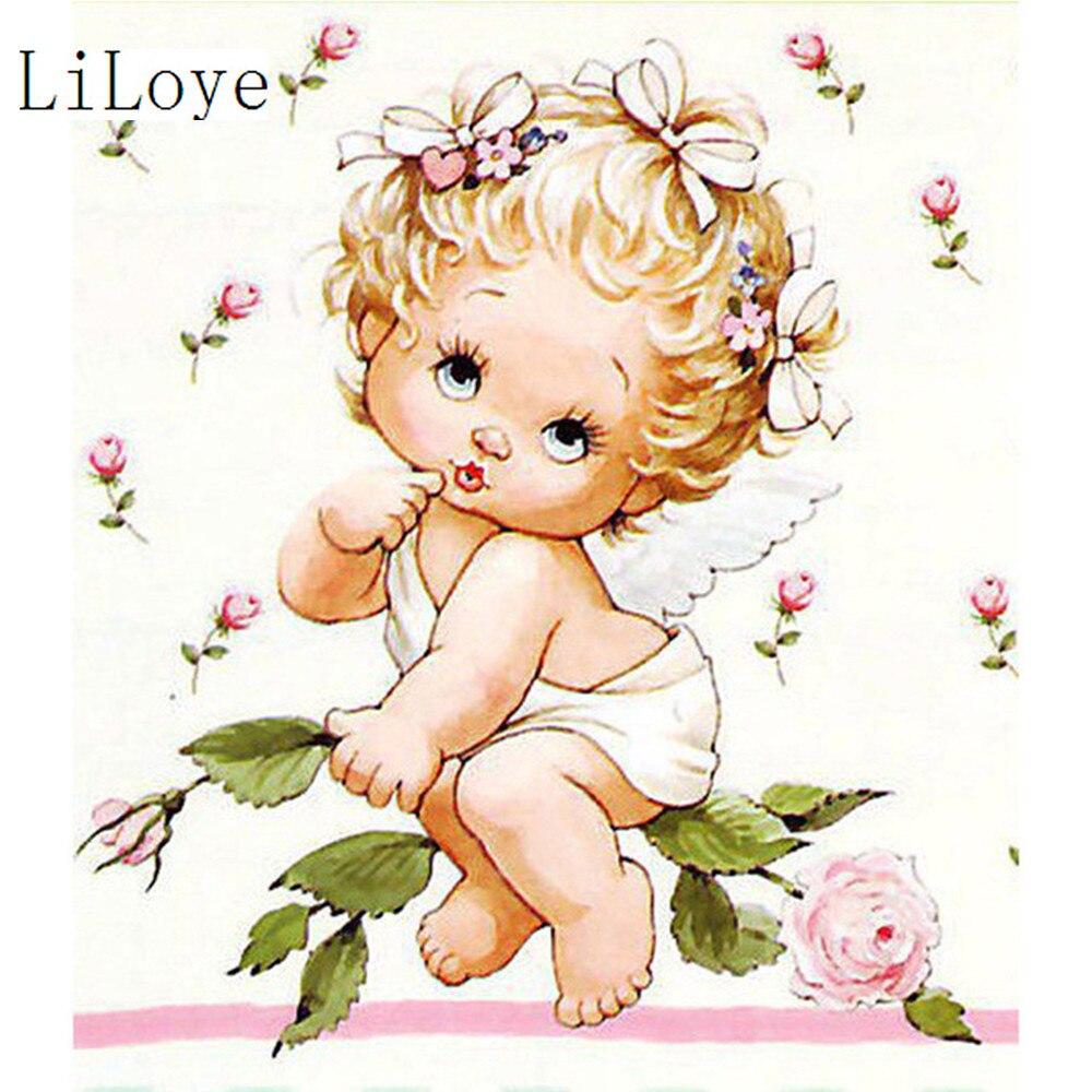 LI LOYE Diamond embroidery Flower baby Painting Crystal Drill handicraft 5D Diamond painting Cross Stitch embroidery art FZ108 Сумка