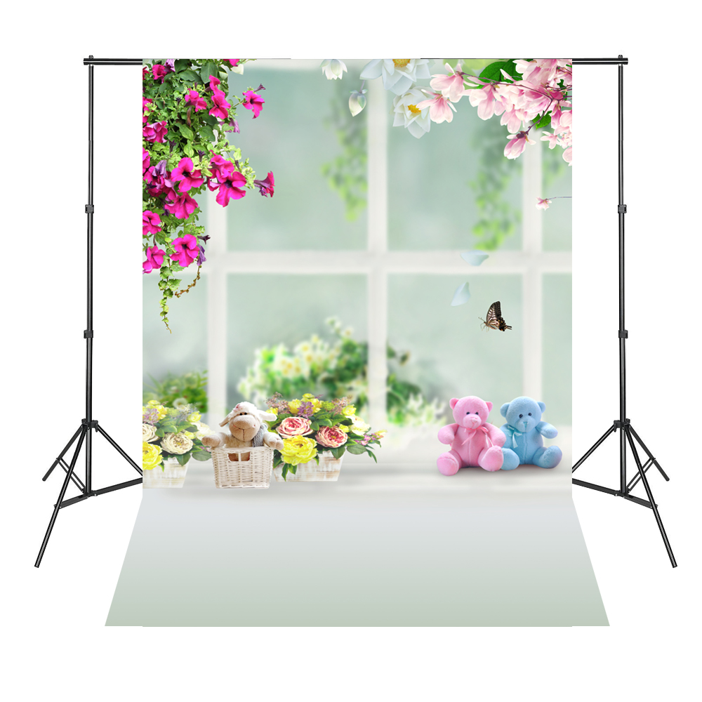 Pink Flowers Cute Bears Baby Newborn Background Photography Estudio Fotografico Baby Shower Backdrop photography backdrops 6 5 5ft 200 150cm fondos estudio fotografico vase curtain windows fundos fotograficos