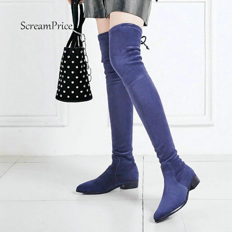 Женские удобные замшевые на низком каблуке сапоги выше колена модные острый носок Зимние эластичные высокие сапоги Черный, серый цвет сини... ...