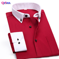 New Arrival Fashion Brand Men Shirts Candy Color Long Sleeve Cotton Business Male Social Dress Shirt Clothes