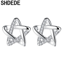 SHDEDE Cubic Zirconia Stud Earrings For Women Anniversary Birthday Party Fashion Jewelry Lover's Xmas Gift -*WHB95 shdede cubic zirconia elegant charm bracelets for women bride wedding fashion jewelry heart valentine s day gift whe262