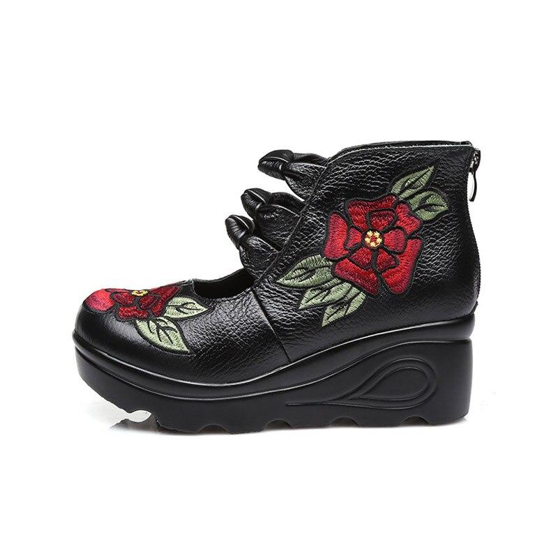 Xifairy g 2018 femmes fleur andals chaussures pente décontracté chaussures en cuir mode brodé dames Vintage imperméable à l'eau plate-forme chaussures - 6