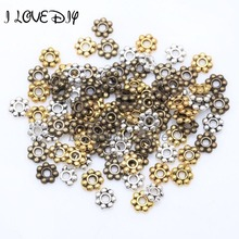Wholesale 1000pcs Tibetan Gold Silver Flower Spacer Beads Round Metal Daisy Wheel`Spacers 4mm for Jewelry Making