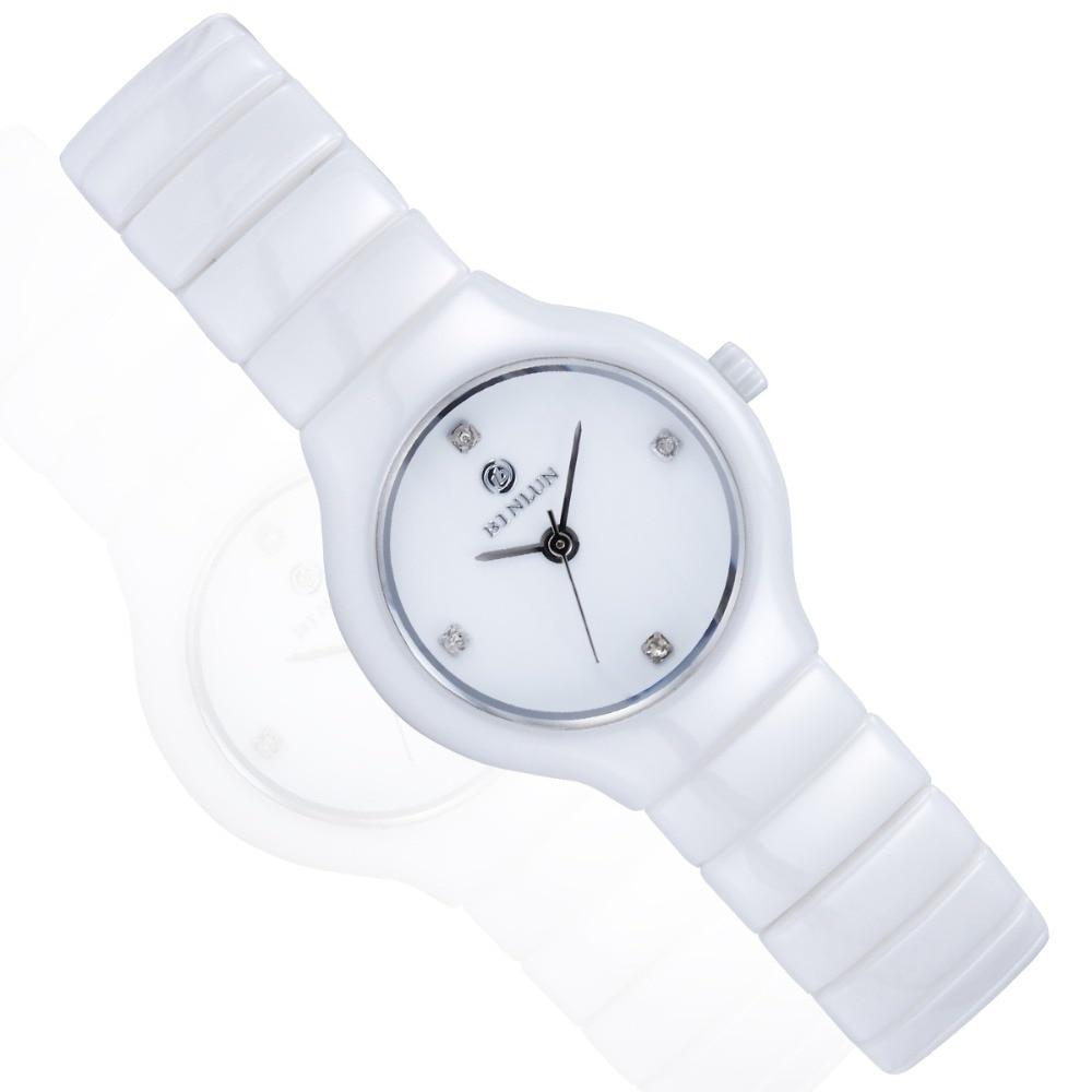 Skgen женские белые керамические кварцевые часы Роскошные наручные часы для женщин Повседневное платье relojes para mujer SKW2300 - 4