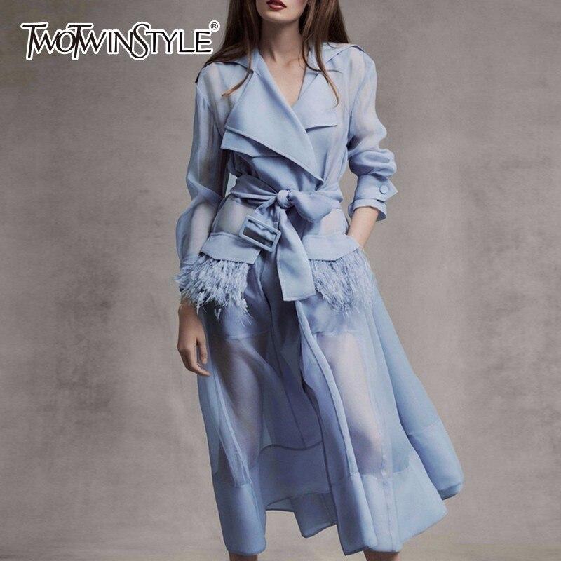 Deuxtwinstyle Voile à lacets coupe-vent robe femmes à manches longues plumes poches Sexy robes de soirée femme vêtements élégants 2019