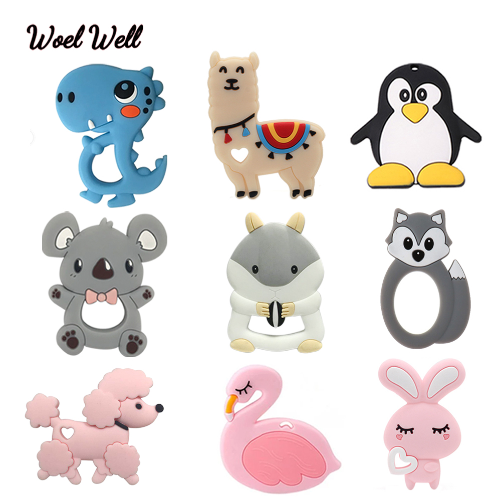 Woel Well 1pcs Baby Silicone Teether Food Grade Teething Toy Animal Sheep Bear Baby Squirrel Teether Silicone Beads DIY Chain