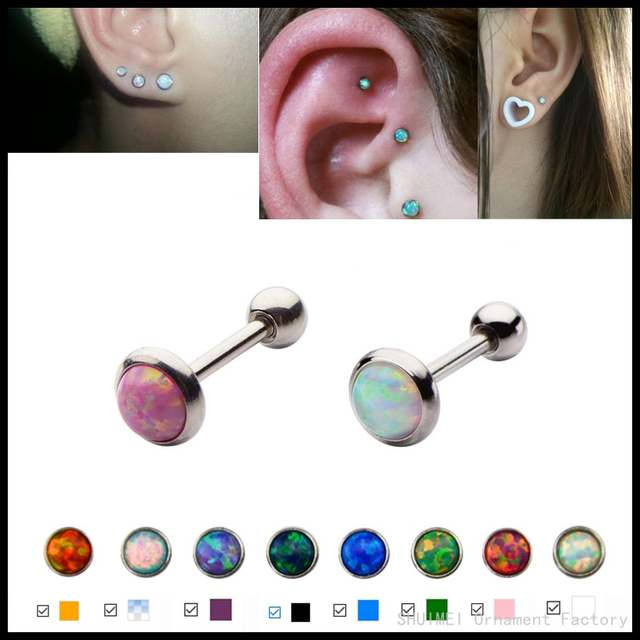 1pc Fashion Opal Ear Cartilage Tragus Piercing Assorted Colors Earring Stud For Sexy Girls Body Jewelry 3mm 4mm 5mm