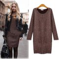 Cashmere Dress 2015 Korean New Women Loose Long Sleeve Package Hip O Neck Elegant Oversized A-line Dresses Bodycon Plus Size