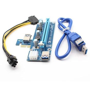 006C PC PCIe PCI-E PCI Express Riser Card 1x to 16x USB 3.0 Data Cable SATA to 6Pin IDE Power Supply for BTC Miner Black Board vodool pci e extender pci express riser card 1x to 16x 60cm usb 3 0 cable sata to 4pin molex power for bitcoin mining miner